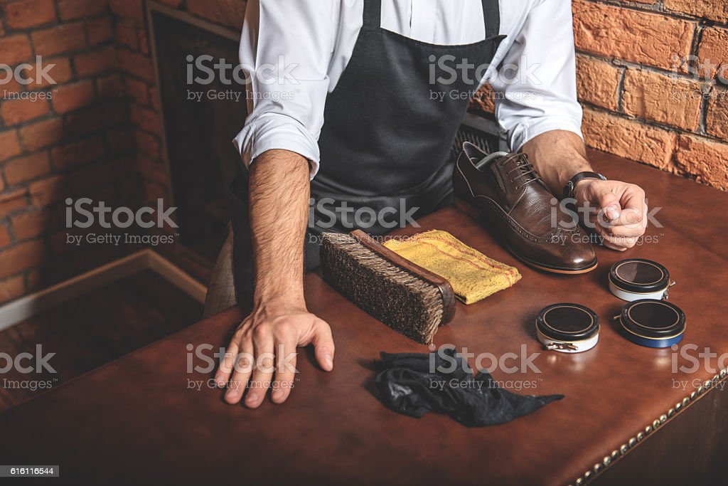 repair tools for leather of shoes stock photo