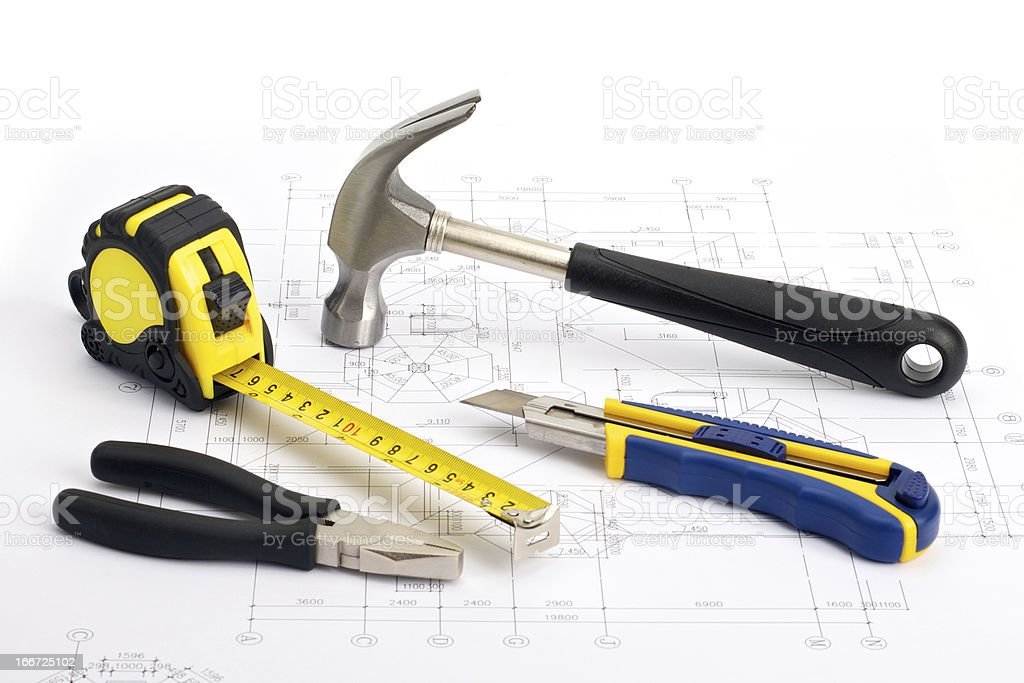 Repair Tools on blueprint royalty-free stock photo
