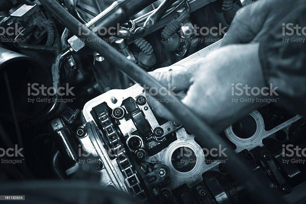 Repair V8 engine royalty-free stock photo