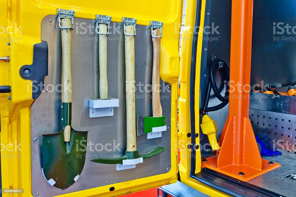 repair wook tools on Off-road engineering works vehicle stock photo