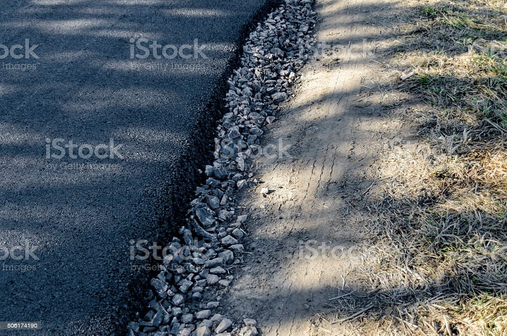 Repaired asphalt road in the Plana mountain, Bulgaria