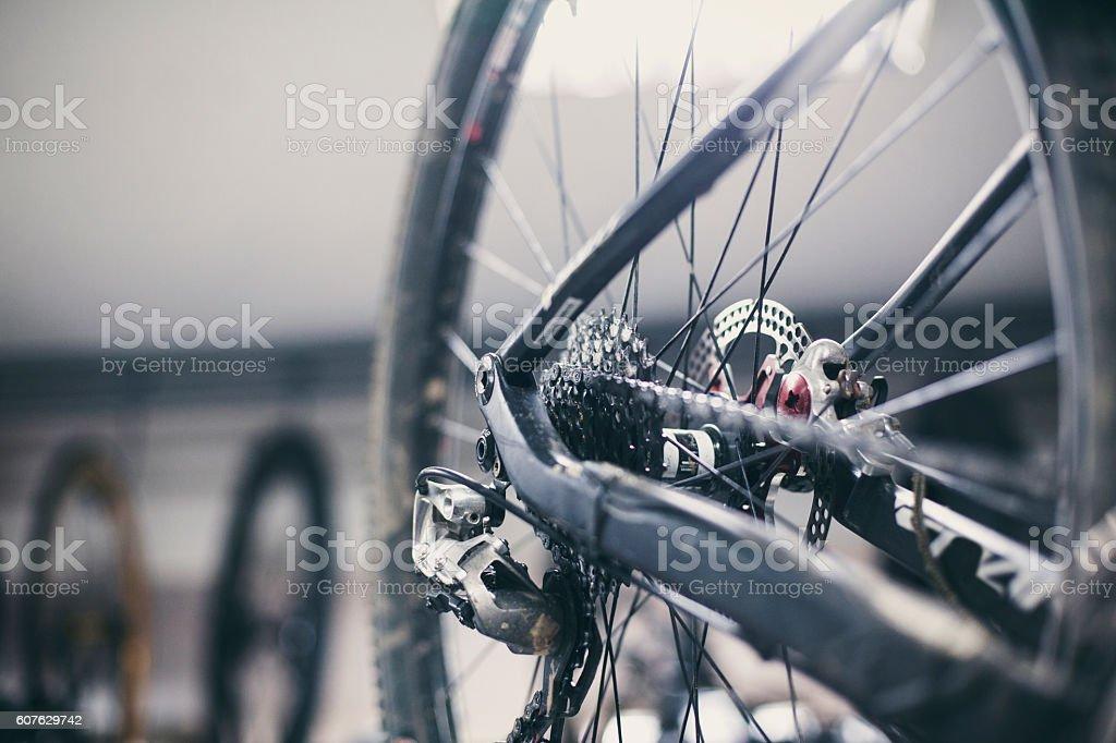 repairing a bicycle at the repair shop. stock photo