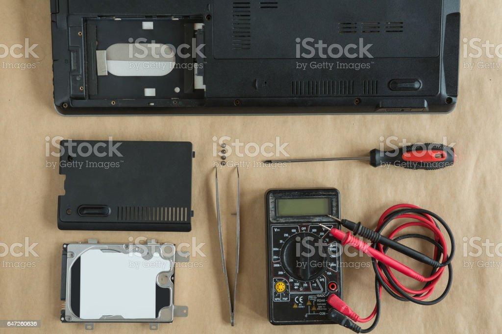 Repairing a computer stock photo