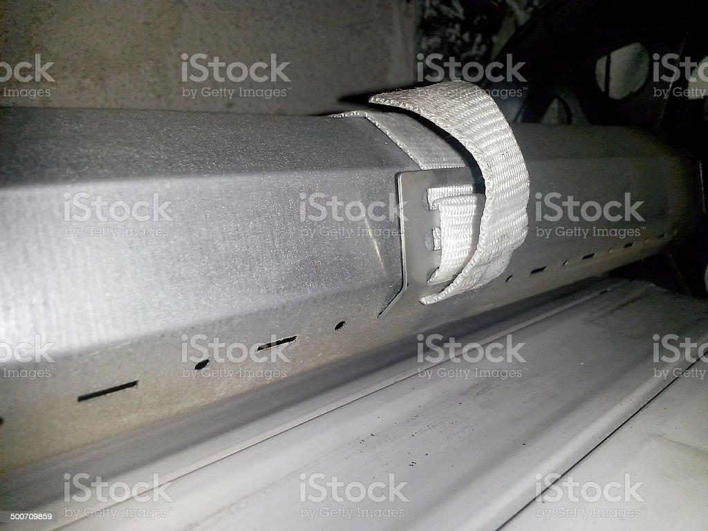 Repairing a roll-up shutter stock photo