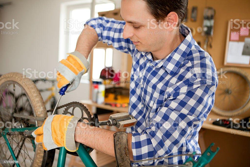 Repairing bicycles stock photo