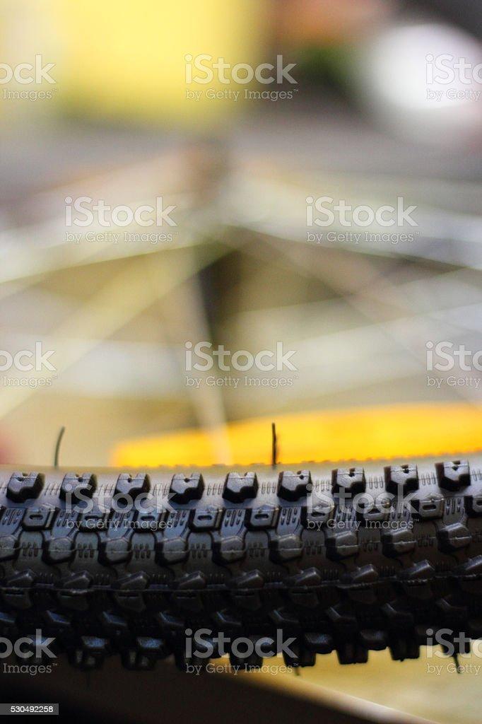 Repairing mountain bike stock photo