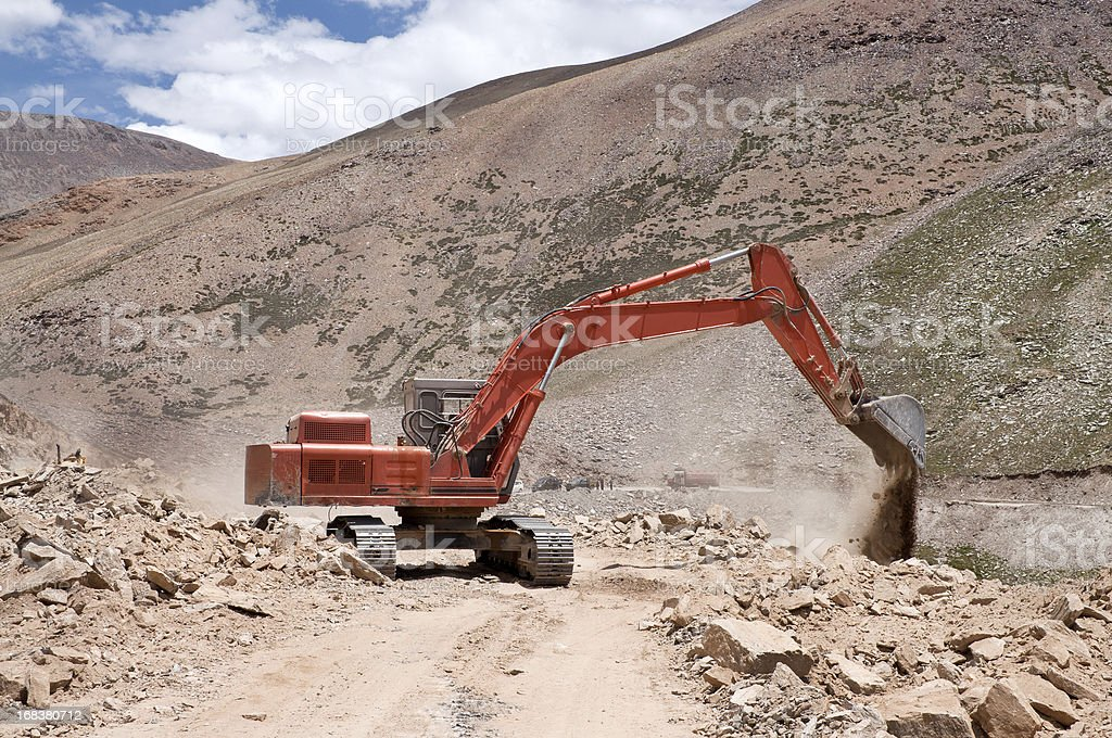 Repairing Road in Indian Himalaya royalty-free stock photo