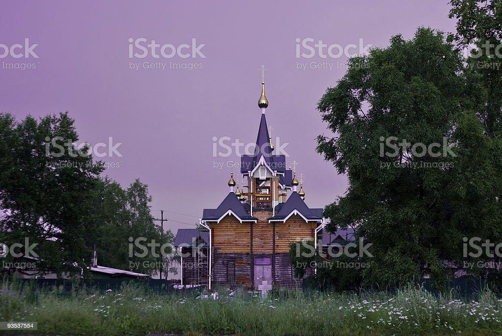 Repairing Russian orthodox church near lake Baikal stock photo