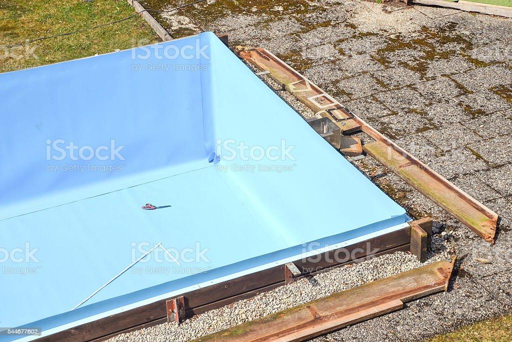 repairing swimming pool stock photo