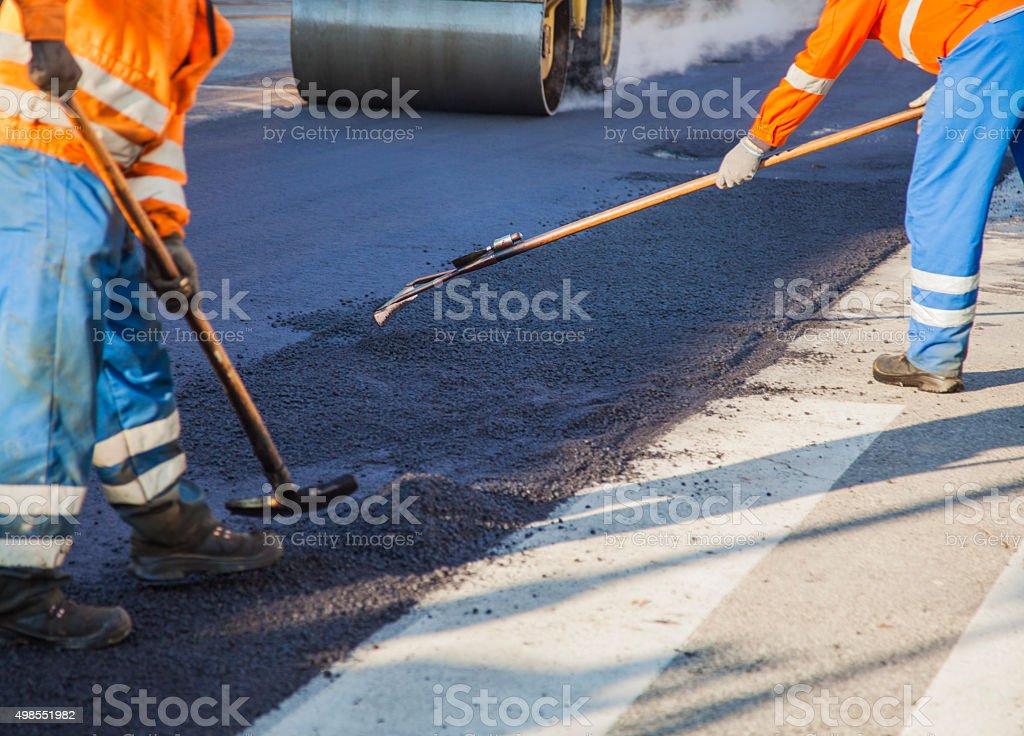 Repairing the road stock photo