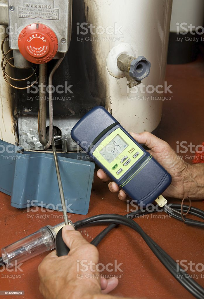 Repairman Checks Carbon Monoxide Level on Gas Water Heater Burner stock photo
