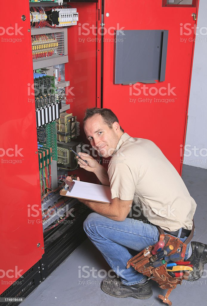 Repairman - Elevator Circuit Vertical stock photo