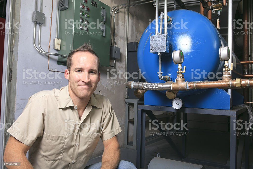 Repairman - Front Machine royalty-free stock photo