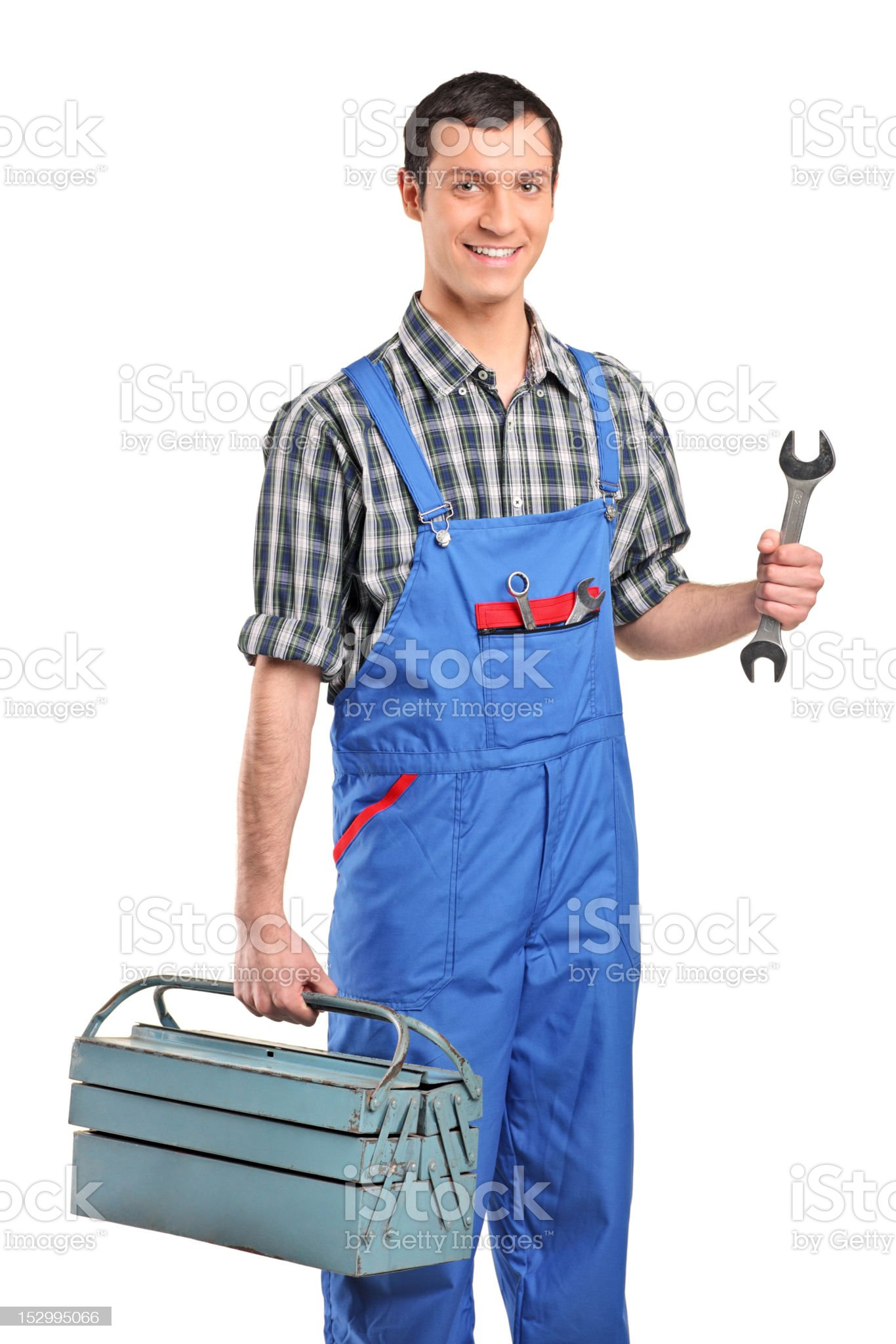 Repairman in overall holding a toolbox and wrench royalty-free stock photo