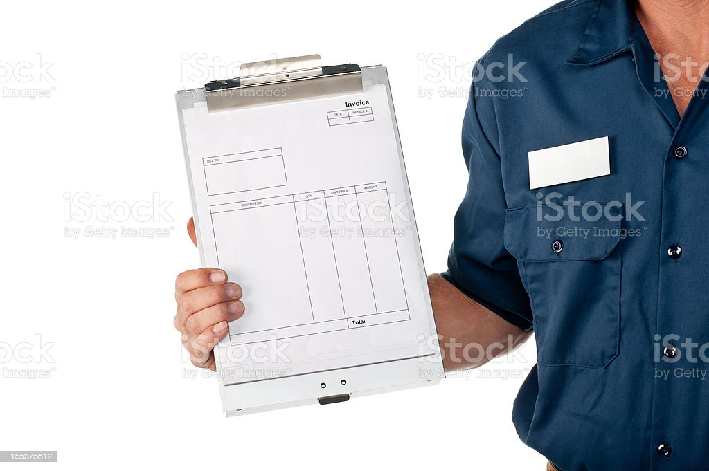 Repairman In Uniform With Invoice royalty-free stock photo