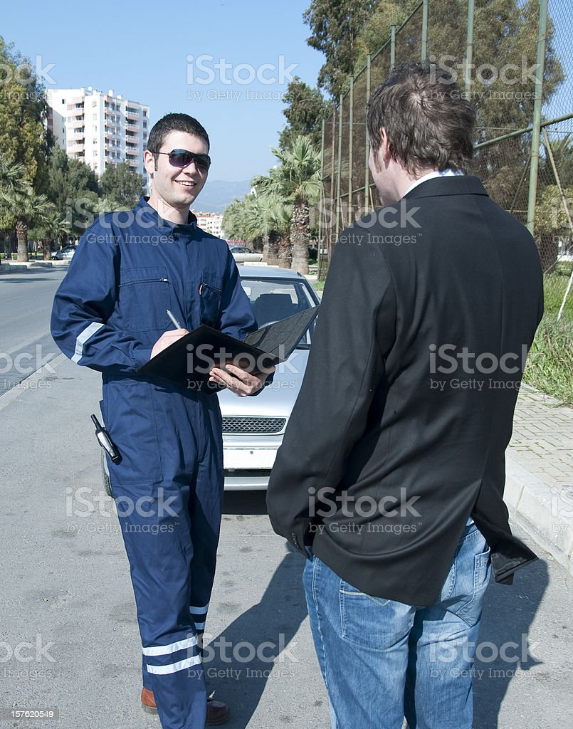 Repairman with customer royalty-free stock photo