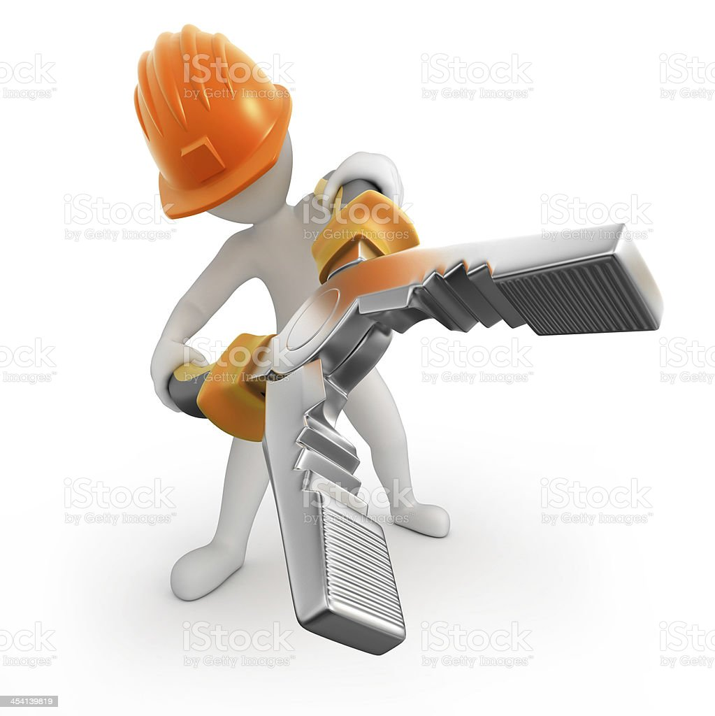 repairman with flat-nose pliers stock photo