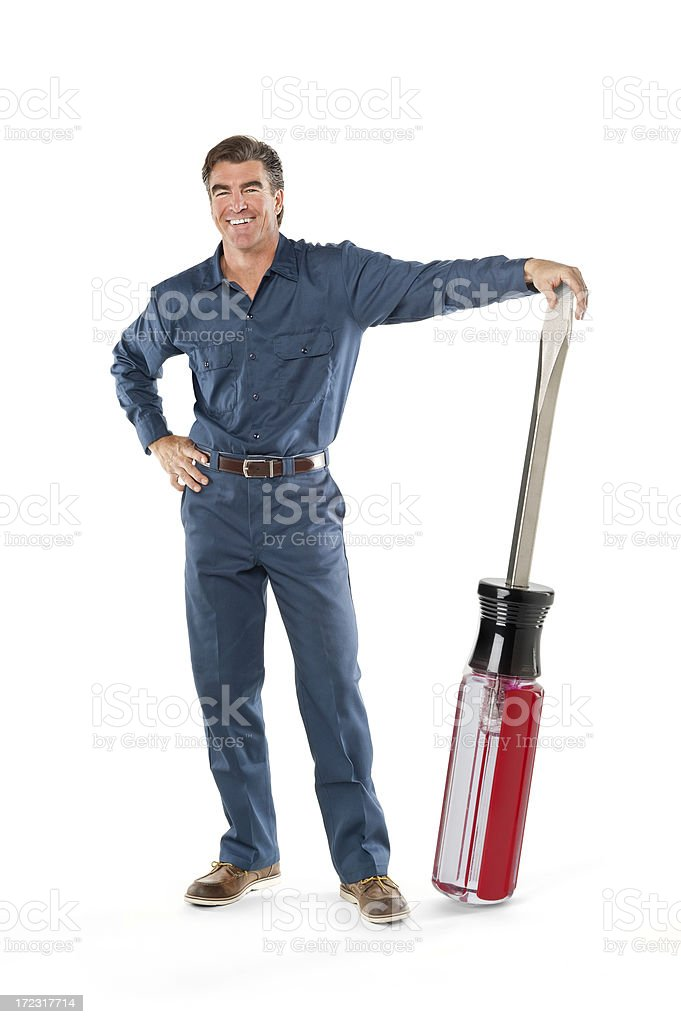 Repairman With Screwdriver royalty-free stock photo
