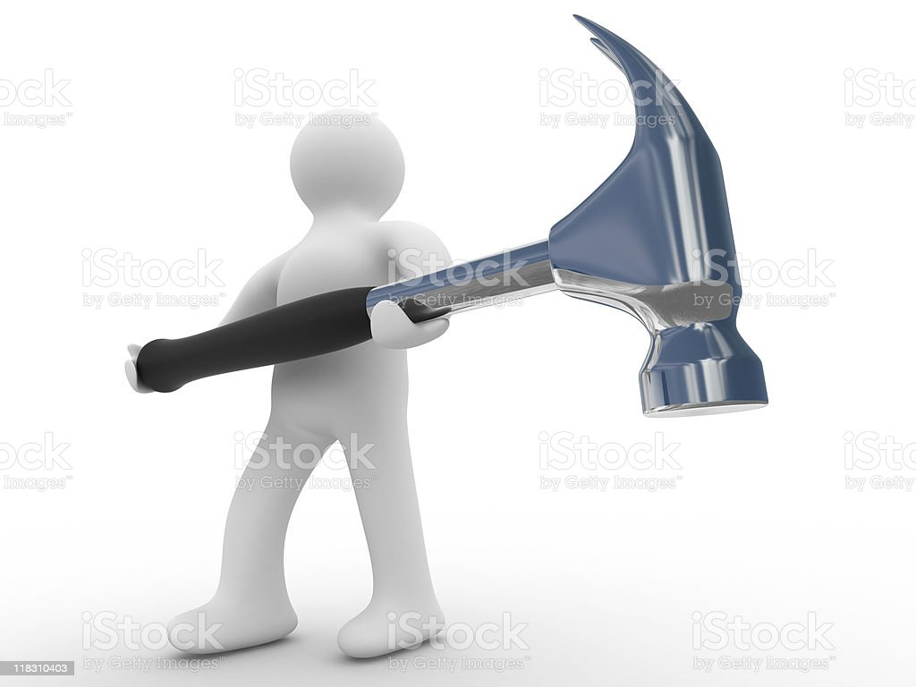 repairman with the tool on a white background. 3D image royalty-free stock photo