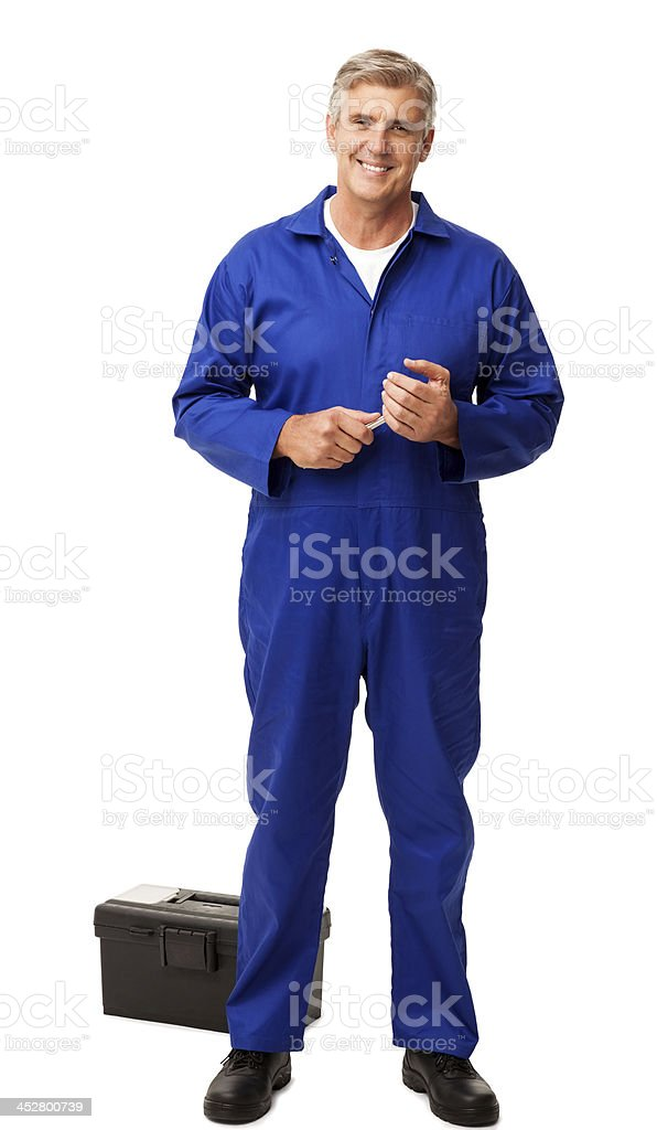 Repairman With Toolbox Over White Background royalty-free stock photo