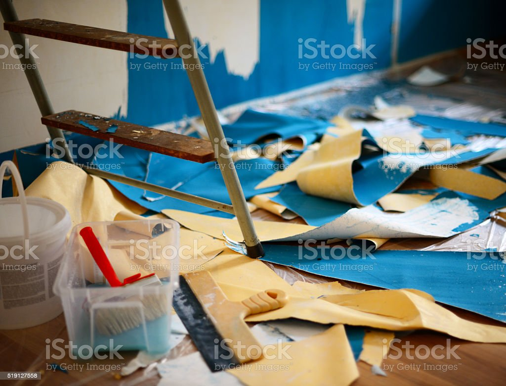 repairs in a new apartment stock photo