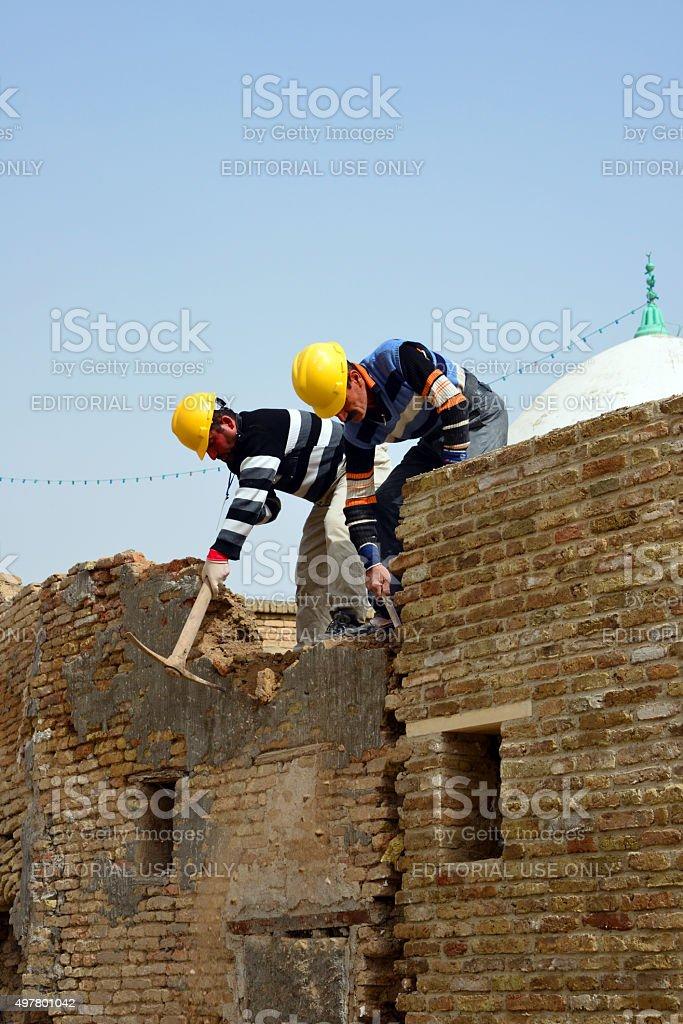 Repairs in Erbil Citadel, Kurdistan, Iraq stock photo