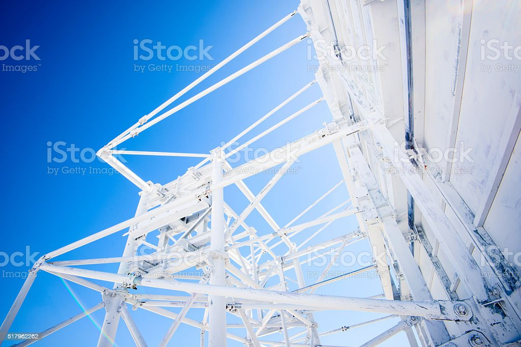 repeater radio antenna in the high mountains stock photo