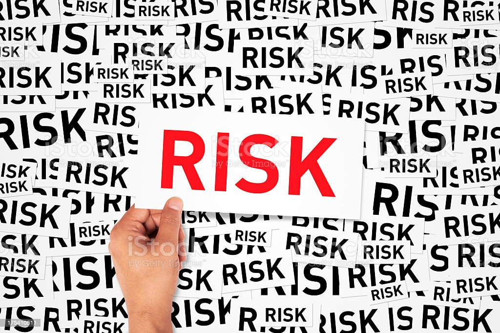 Repeating background of the word risk with large sign in red royalty-free stock photo