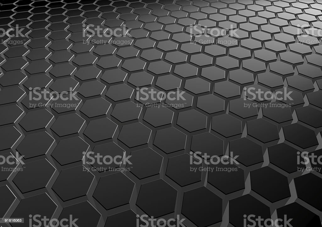 Repeating black hexagon pattern royalty-free stock photo
