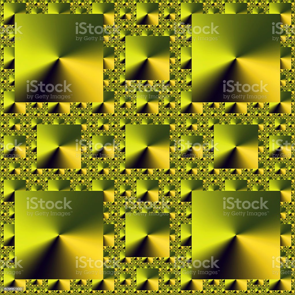 Golden squares repeating pattern abstract fractal image stock photo
