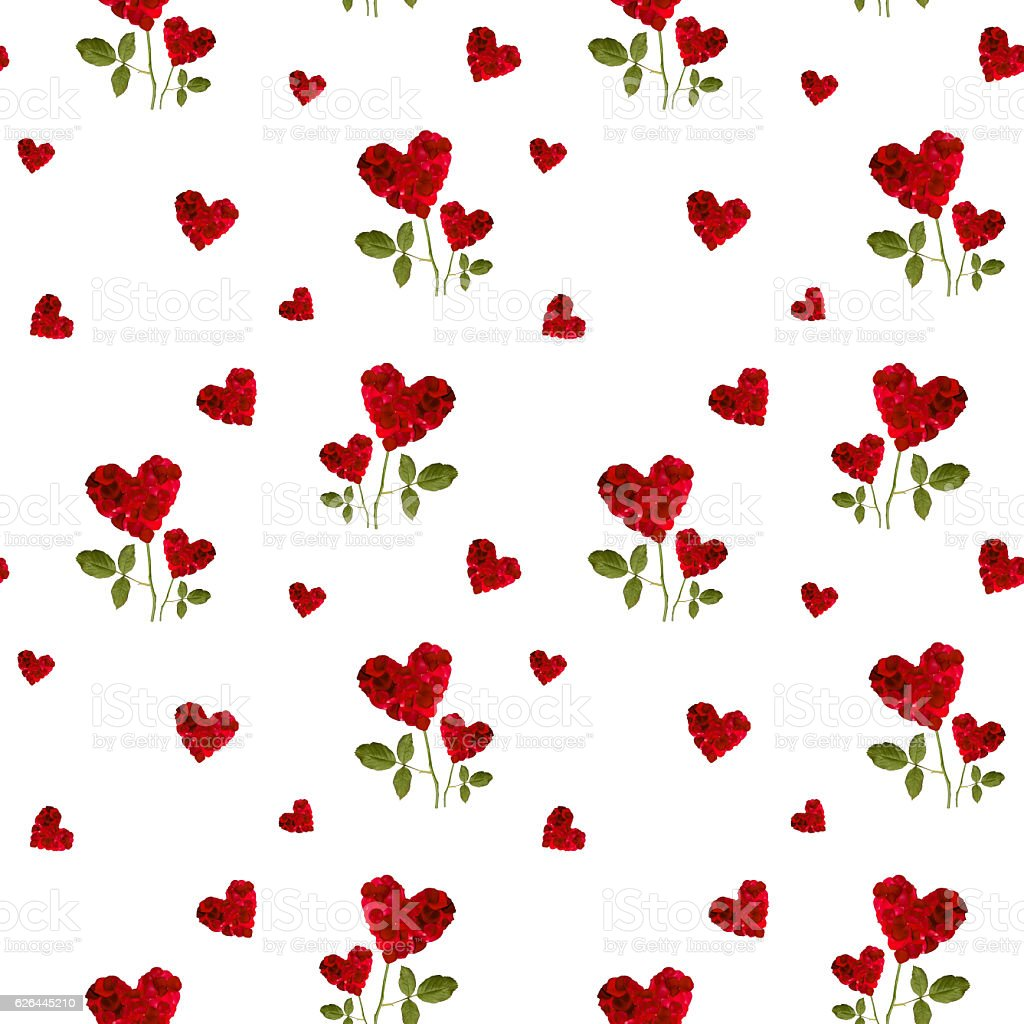 repeating patterns of red hearts rose petals  for Valentine's Day stock photo