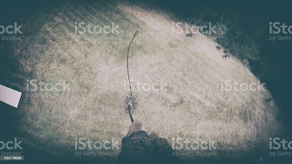 Repelling In Military stock photo