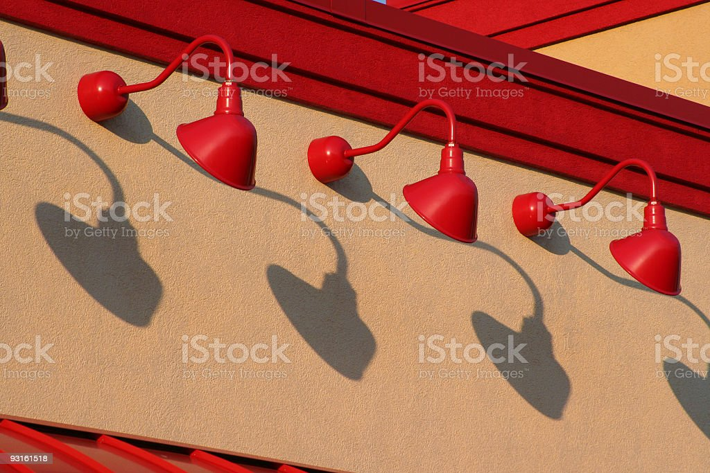 Repetitive Red Light Fixtures royalty-free stock photo