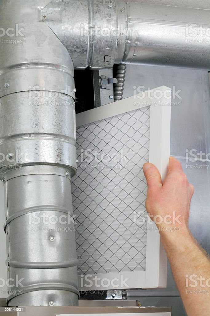 Replace Home Air Filter stock photo