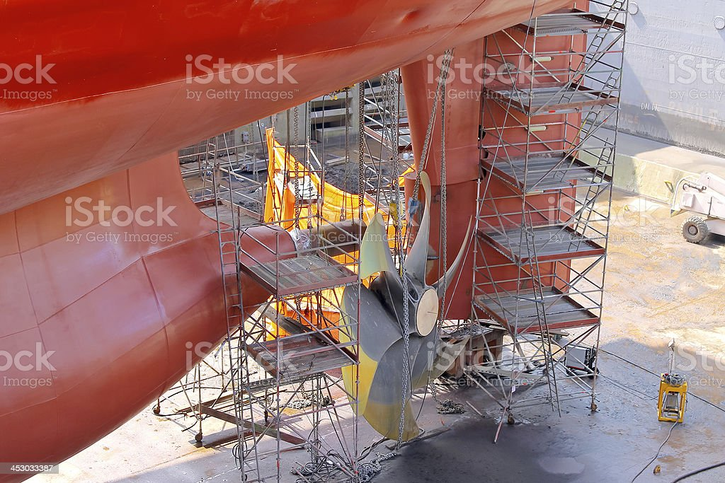 Replacement screws on the ship at  dock. royalty-free stock photo