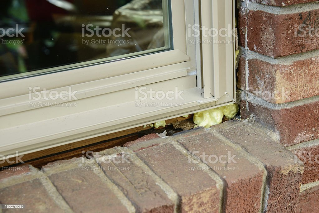 Replacement window in brick opening stock photo