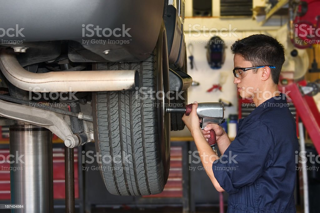 Replacing a Tire stock photo