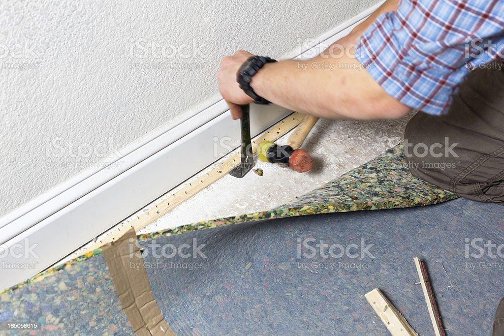 Replacing the Carpet stock photo