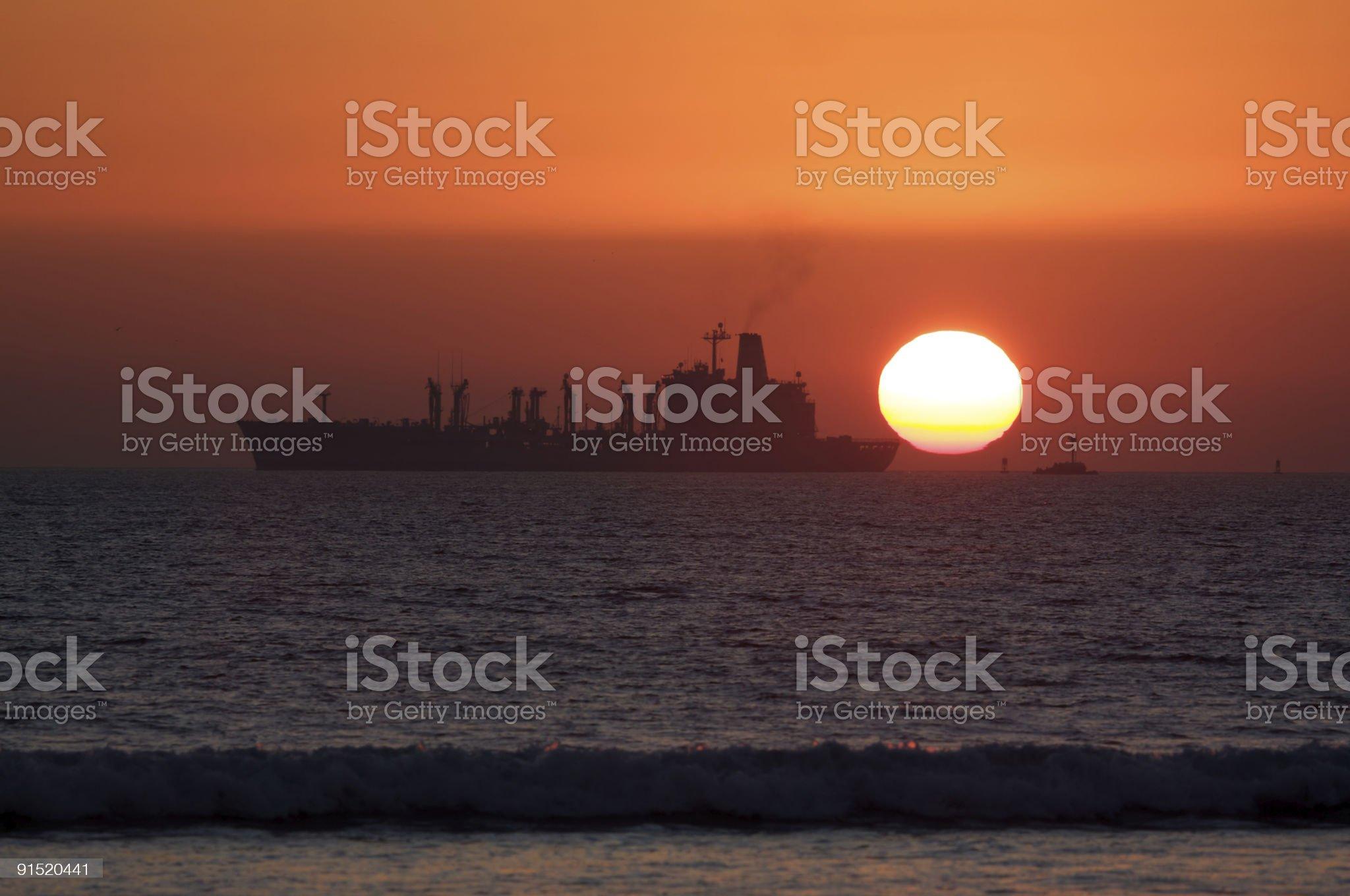 Replenishment (Resupply) Ship at Sunset royalty-free stock photo
