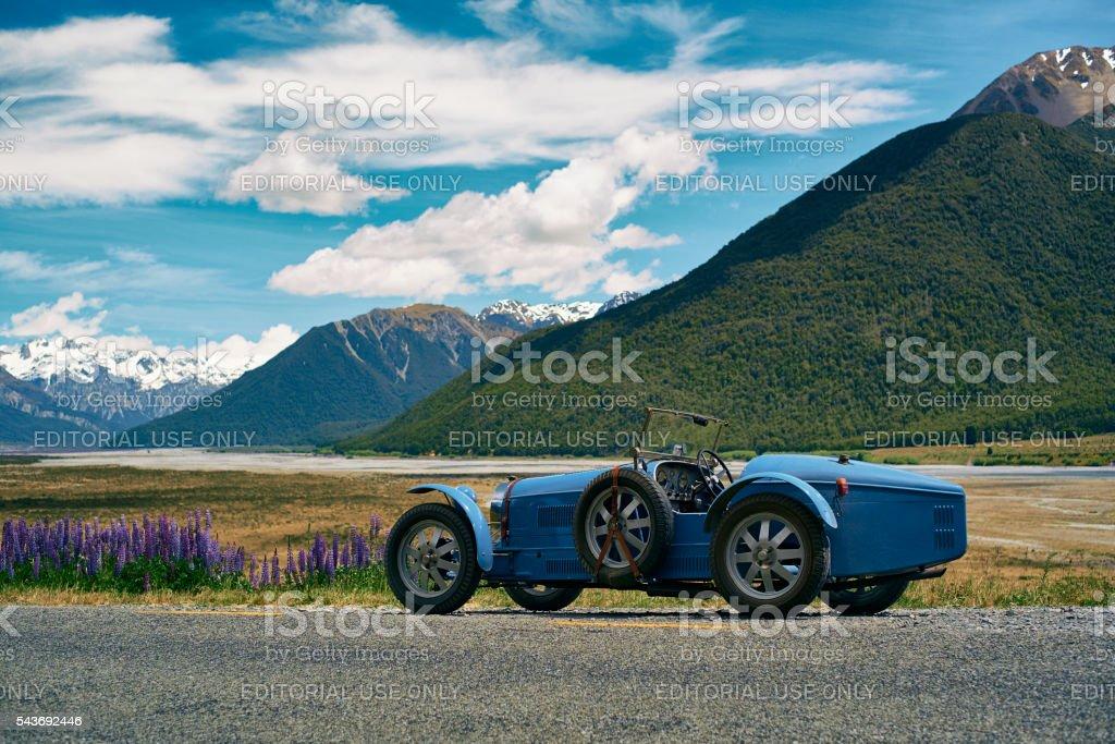 Replica Bugatti In New Zealand's Southern Alps stock photo