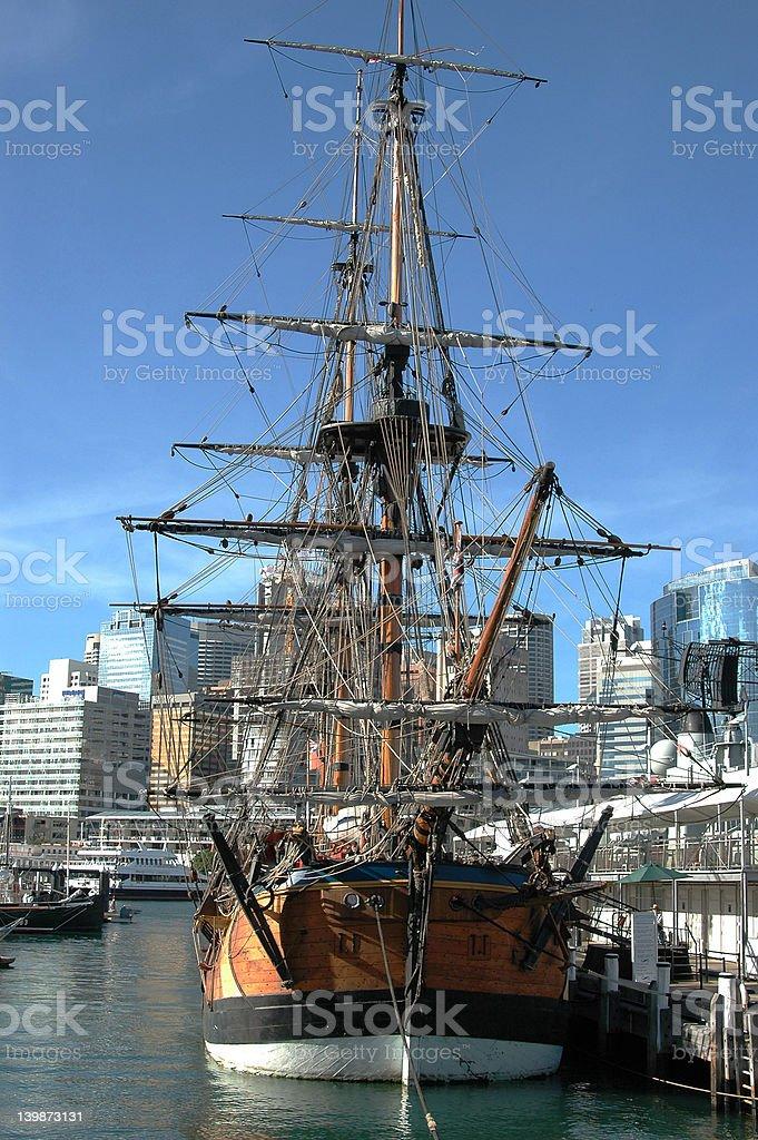Replica Cook's sailing ship Endeavor stock photo