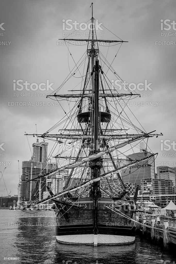 Replica Cook's sailing ship - HM Bark Endeavour stock photo