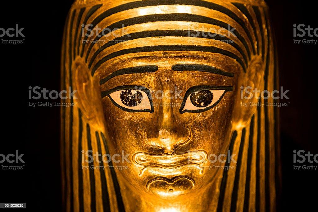 Replica model of an ancient Egyptian pharoah sarcophagus stock photo