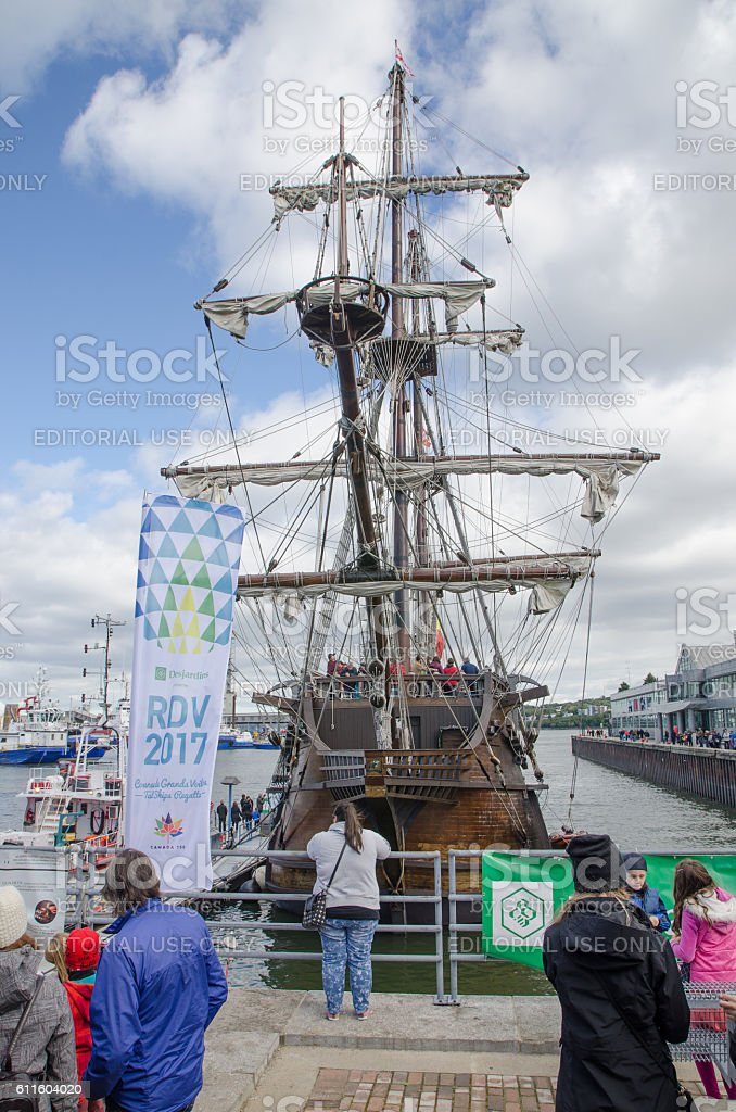 Replica of a 16th Centyry Spanish Sailing ship stock photo