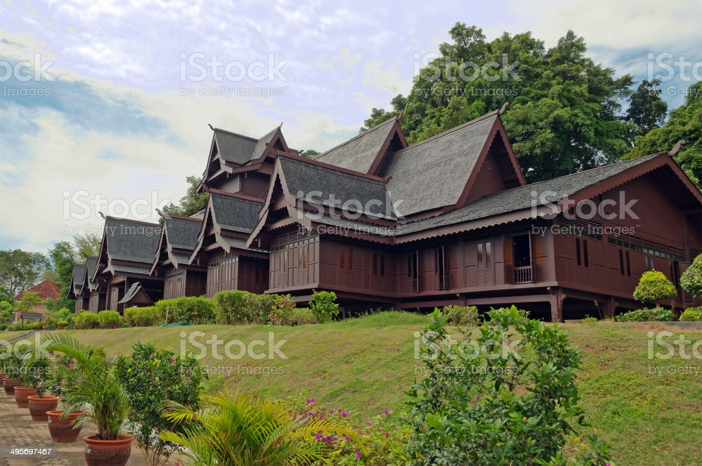 Replica of Melaka's Sultante Palace stock photo