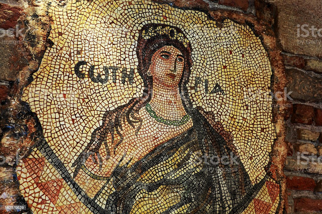 Replica of Soteria, mosaic found at Antioch, hatay stock photo