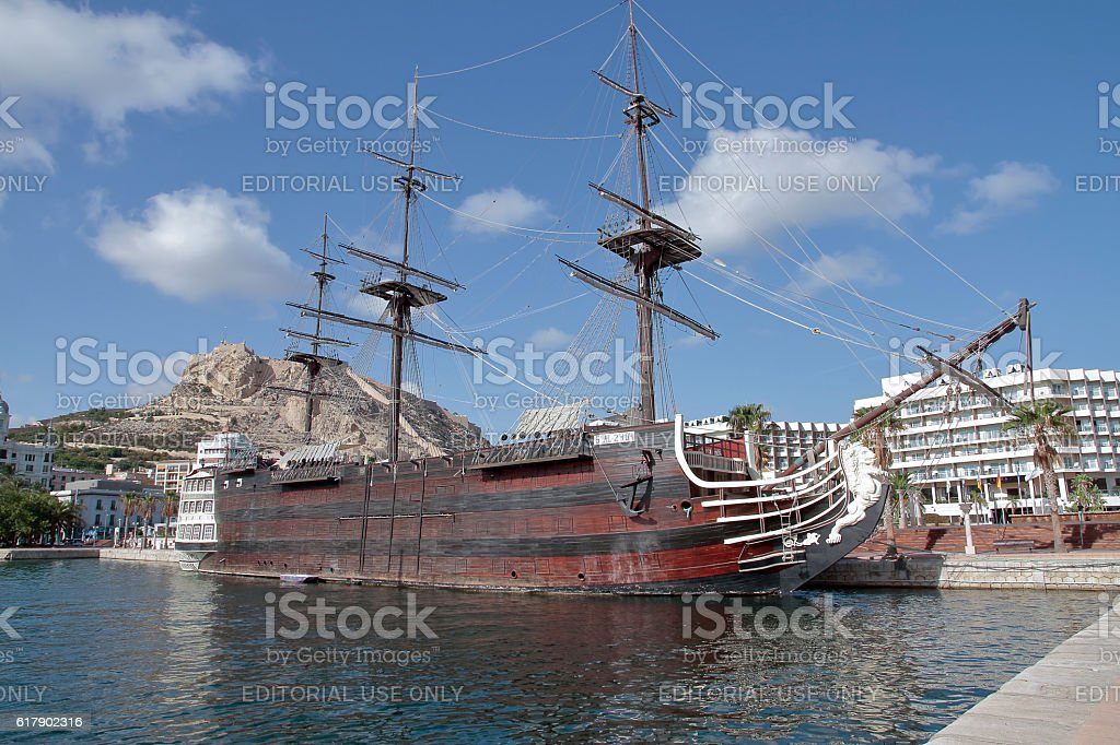 replica of spanish warship Santisima Trinidad in alicante harbor stock photo