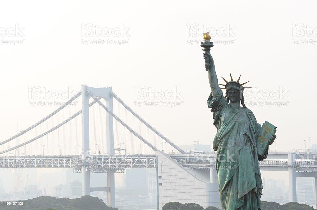 Replica of Statue of Liberty in Odaiba stock photo