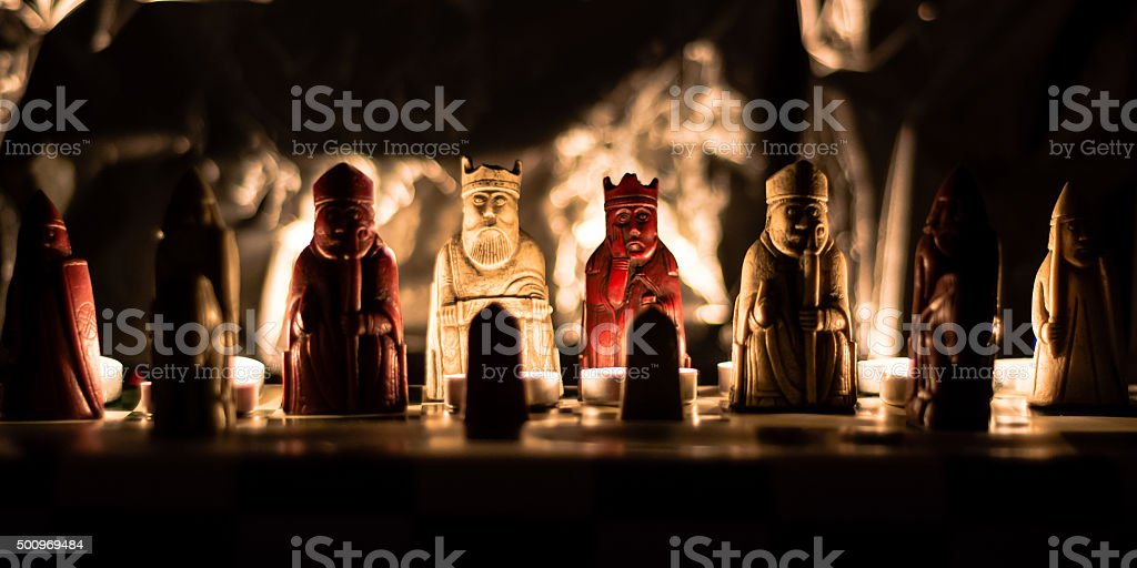 Replica of the Lewis Chessmen stock photo