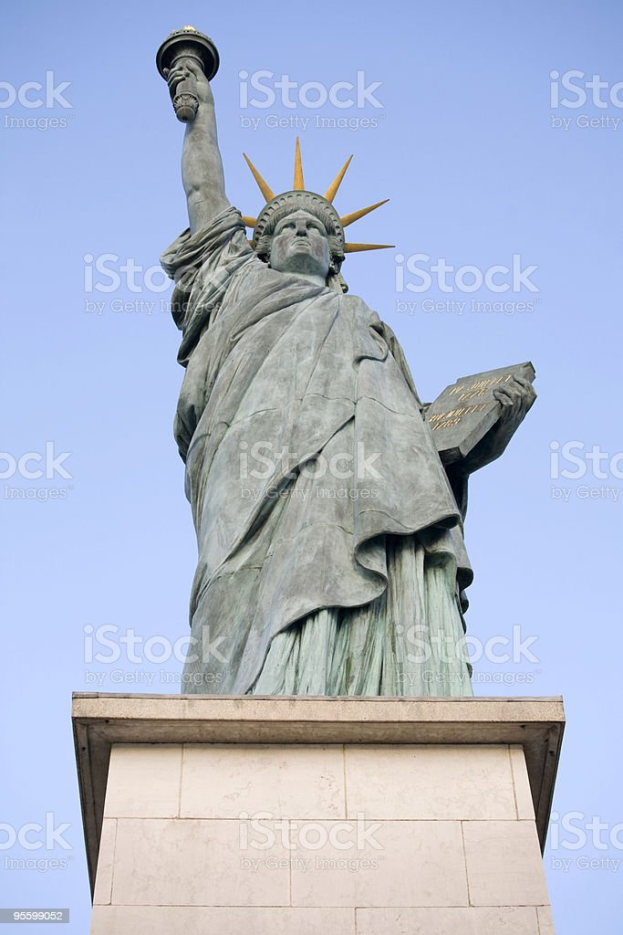 Replica Statue of Liberty, Paris and Copy Space royalty-free stock photo
